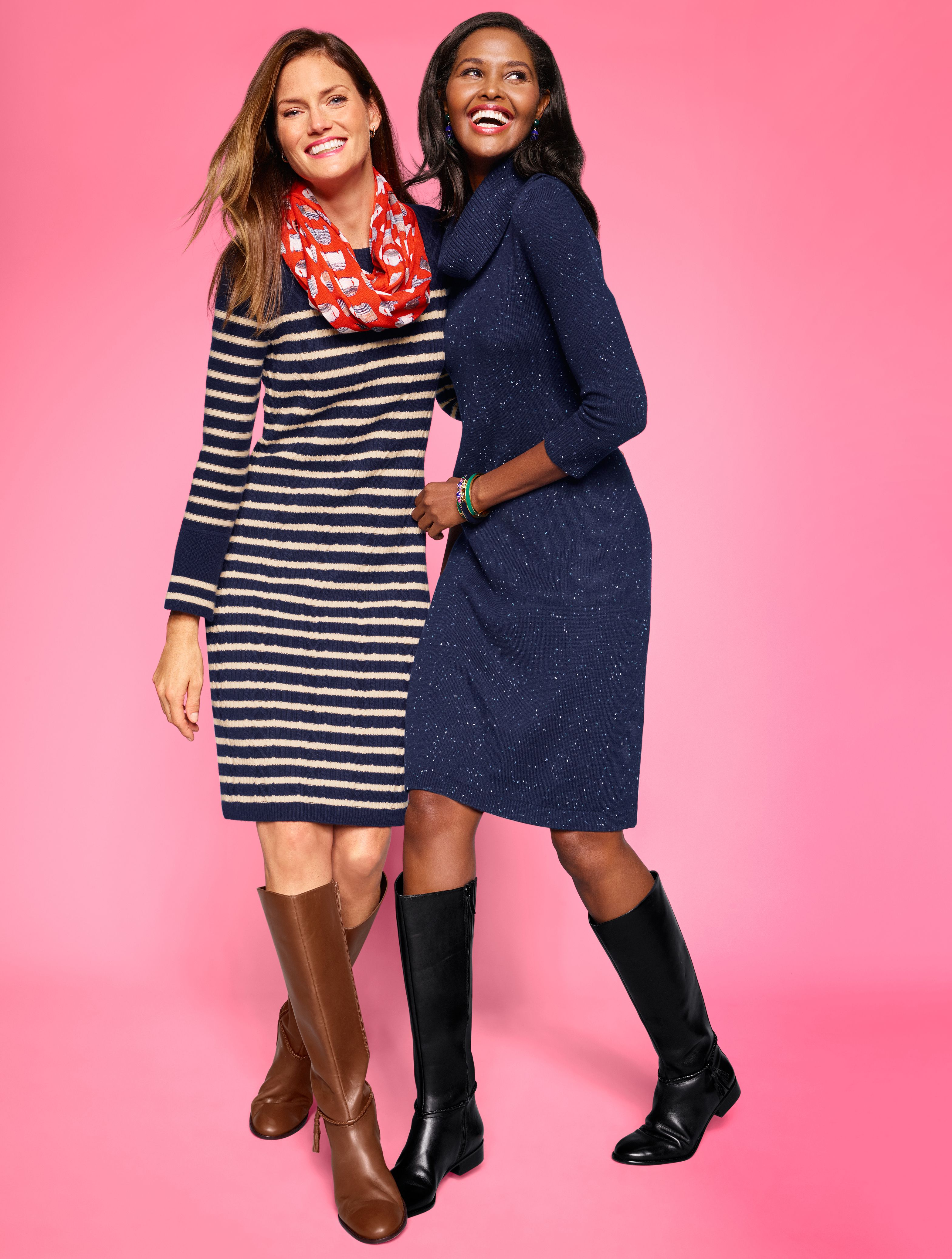 Tis The Season Of The Sweater Dress From Stripes To Cowlnecks It S All In The Details This Season Pair T Knit Shift Dress Sweater Dress Boots Sweater Dress [ 4149 x 3137 Pixel ]