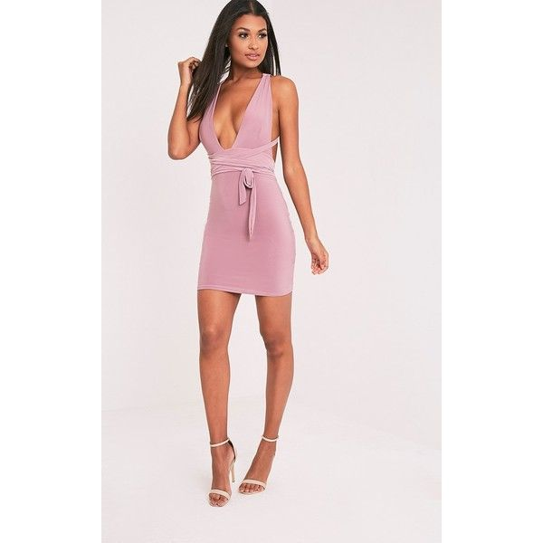 Lidia Mauve Multiway Bodycon Dress-6 (31 AUD) ❤ liked on Polyvore featuring dresses, purple, multi way dress, pink dress, body conscious dress, purple convertible dress and pink purple dress
