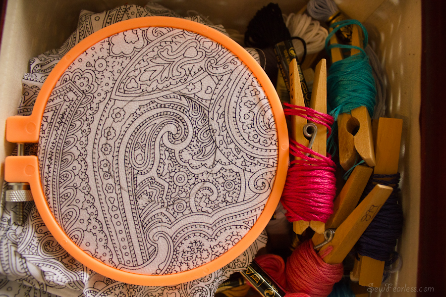embroidery before