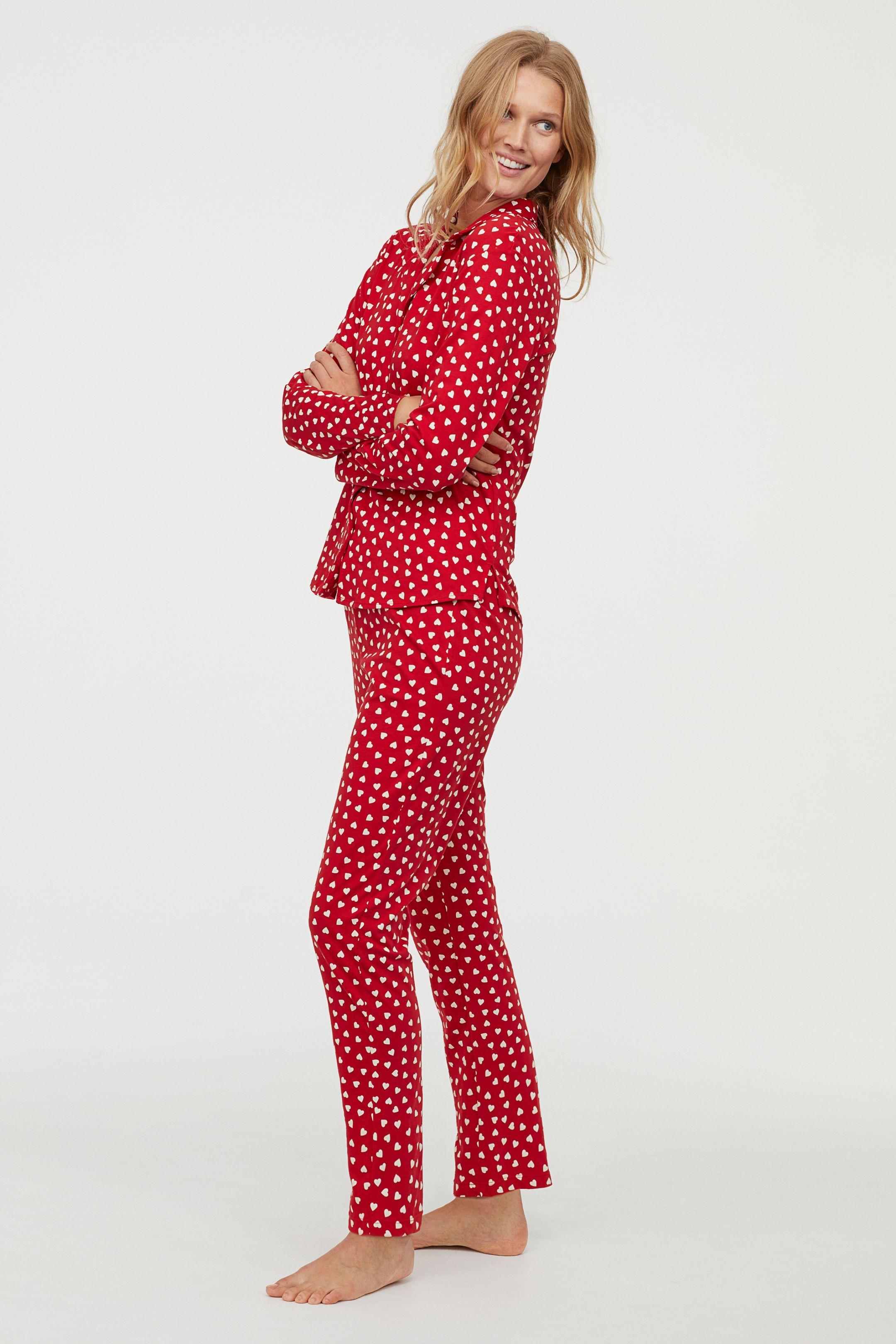 Mönstrad pyjamas - Röd Hjärtan - DAM  0811b287f4204
