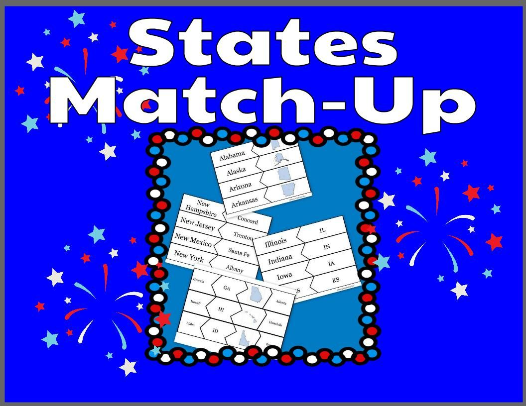 States Match Up State Names Capitals Postal