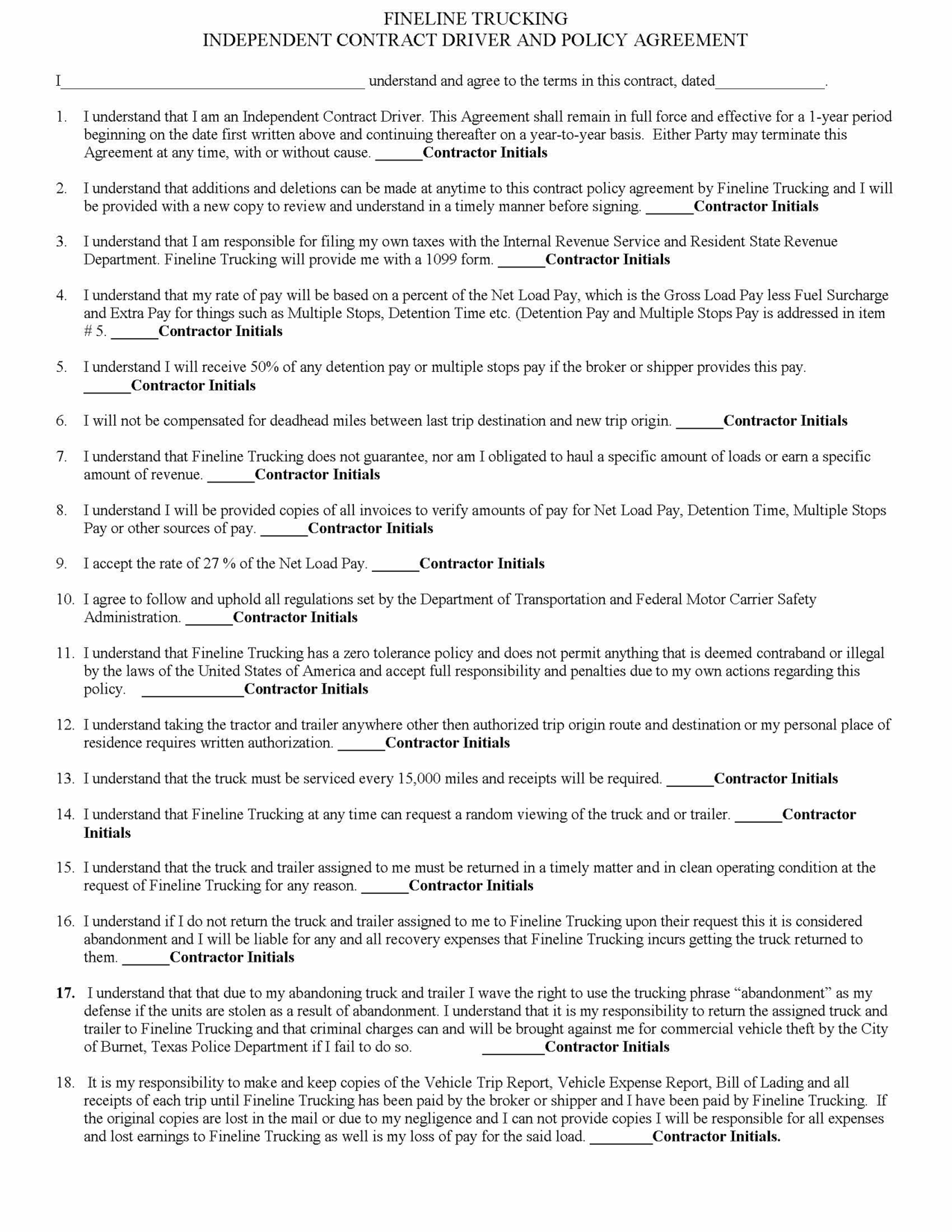 Truck Driver Contract Agreement Free Printable Documents