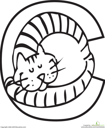 Letter C Coloring Page | Animal alphabet, Worksheets and Cat