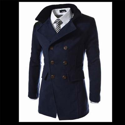 41f3ed61a Mens Coats Overcoats Double Breasted Men Wool Coat Business Casual ...