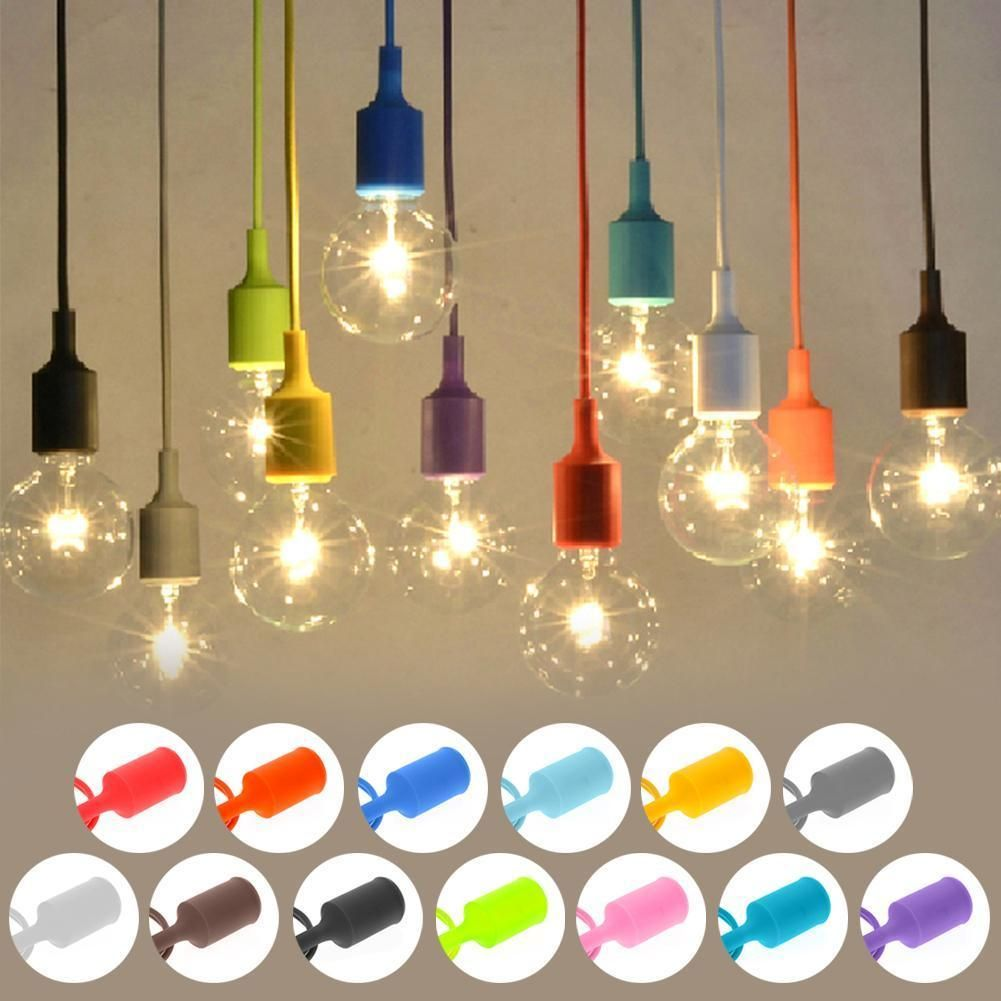 Fashion Color Silicone Ceiling Rope Cord Pendant Lamp Holder Light Wiring Metal Bulb Socket