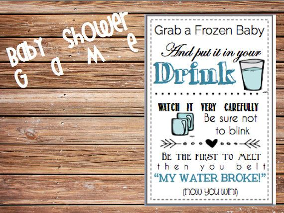 Baby Shower Game Printable My Water Broke Ice By SweetTeaPaper