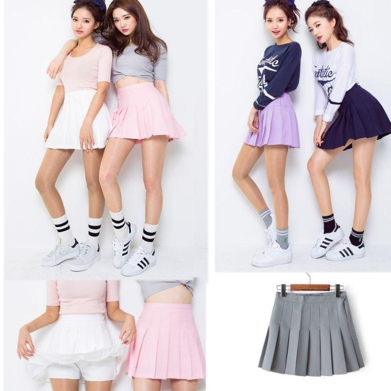 0d079f70d6 Women Lady Tennis High Waist Plain Skater Flared Pleated Short Mini Skirt  Shorts