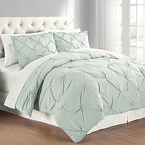 Pintuck Twin Comforter Set In Mist Blue Comforter Sets