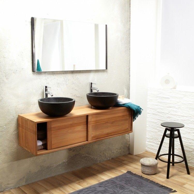 mueble de madera moderno con dos lavabos muebles Pinterest Bath