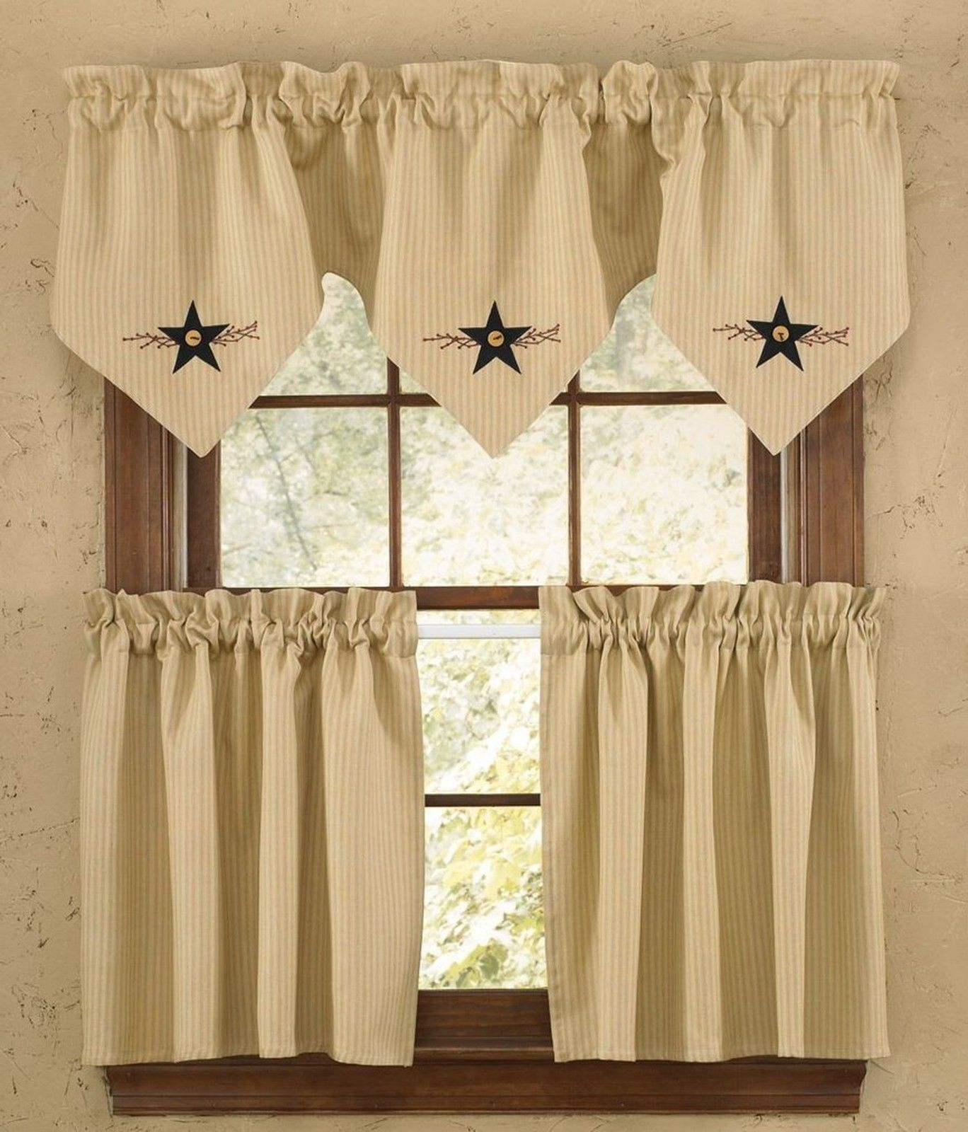 Park Designs Star Vine Lined Triple Point Valance 60 X 20