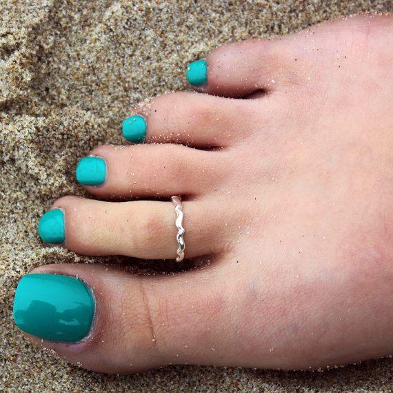 sterling silver toe ring Plain simple wavy design toe ring ... a6fb292e6d87