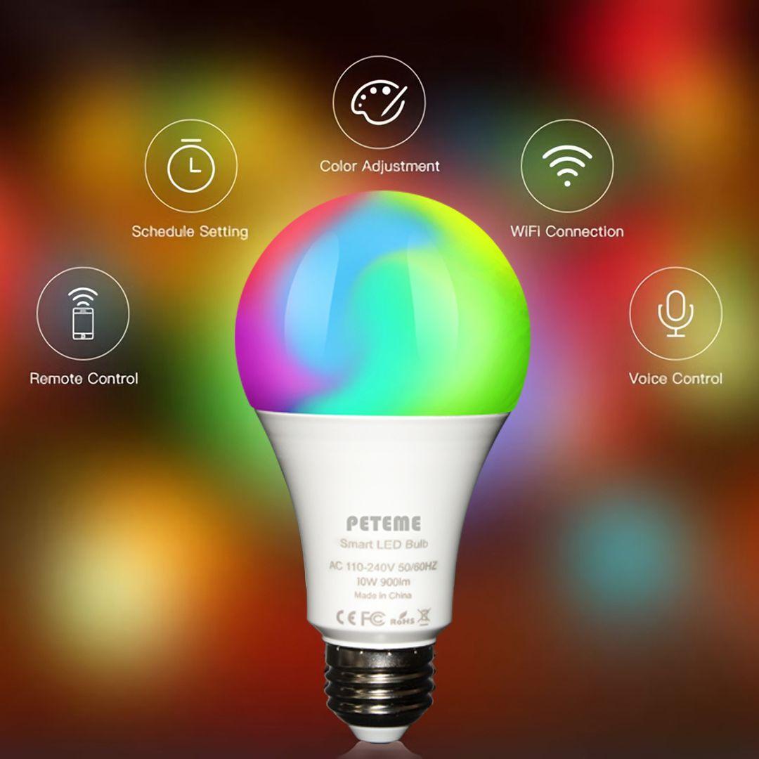 Peteme Led Smart Wifi Bulb Works With Siri And Google Assisntant Led Smart Wifi Bulb A19 Led Smart Bulb White Rgb E26 7w Equivalent 60w Work With Alexa Siri