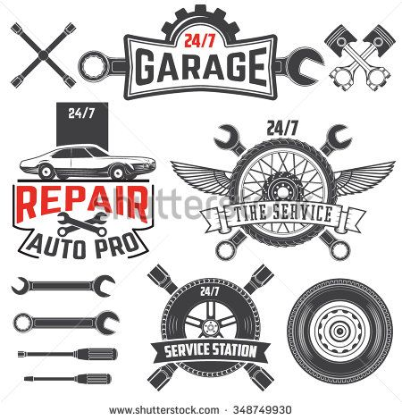 Collection Of Vintage Retro Grunge Car Labels Badges And Icons Garage Car Repair Station Tire Service Labels An Garage Logo Auto Service Car Repair Service