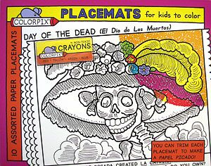 "Let your kids celebrate Day of the Dead, too!  These fantastic coloring placemats feature five different designs for coloring.  Two of each design are included on large paper placemats (14"" x 11"") and four crayons are also included with each set.  They also work well for Halloween parties and if you laminate them after coloring they are reusable!"