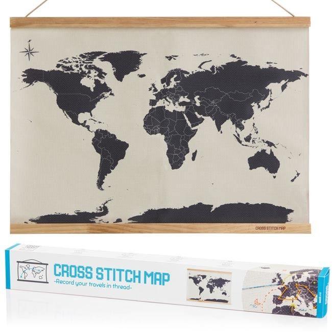 Borda a punto de cruz las rutas de tus viajes alrededor del mundo