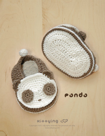 Panda Baby Booties Crochet PATTERN SYMBOL DIAGRAM pdf by kittying.com #babypandas