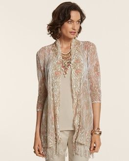 "Tribal Fringe Kerrigan Cardigan. Length: 30"" to 34"". 55% linen, 45% cotton. Hand wash. Imported."