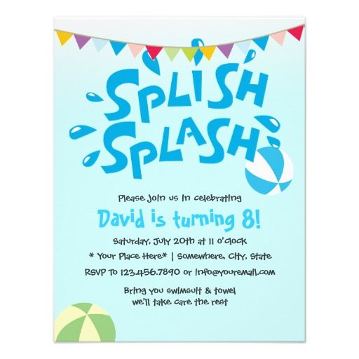 Boys Summer Splash Pool Party Birthday Personalized Invite
