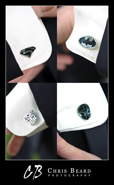 Superhero cufflinks... I would actually let my future husband and his groomsmen do this for our wedding.