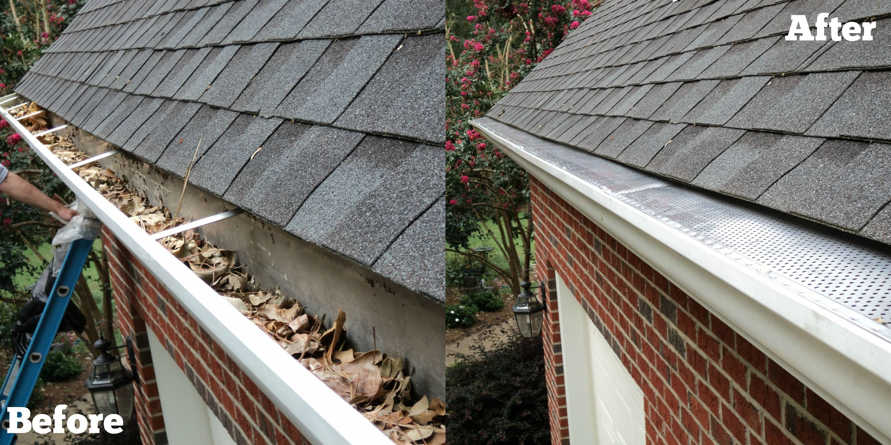 Before And After Gutter Cleaning And Gutter Guard Installation