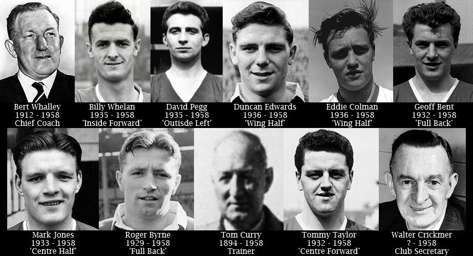 Munich Air Disaster victims.   Manchester united team, Manchester united  legends, Munich air disaster