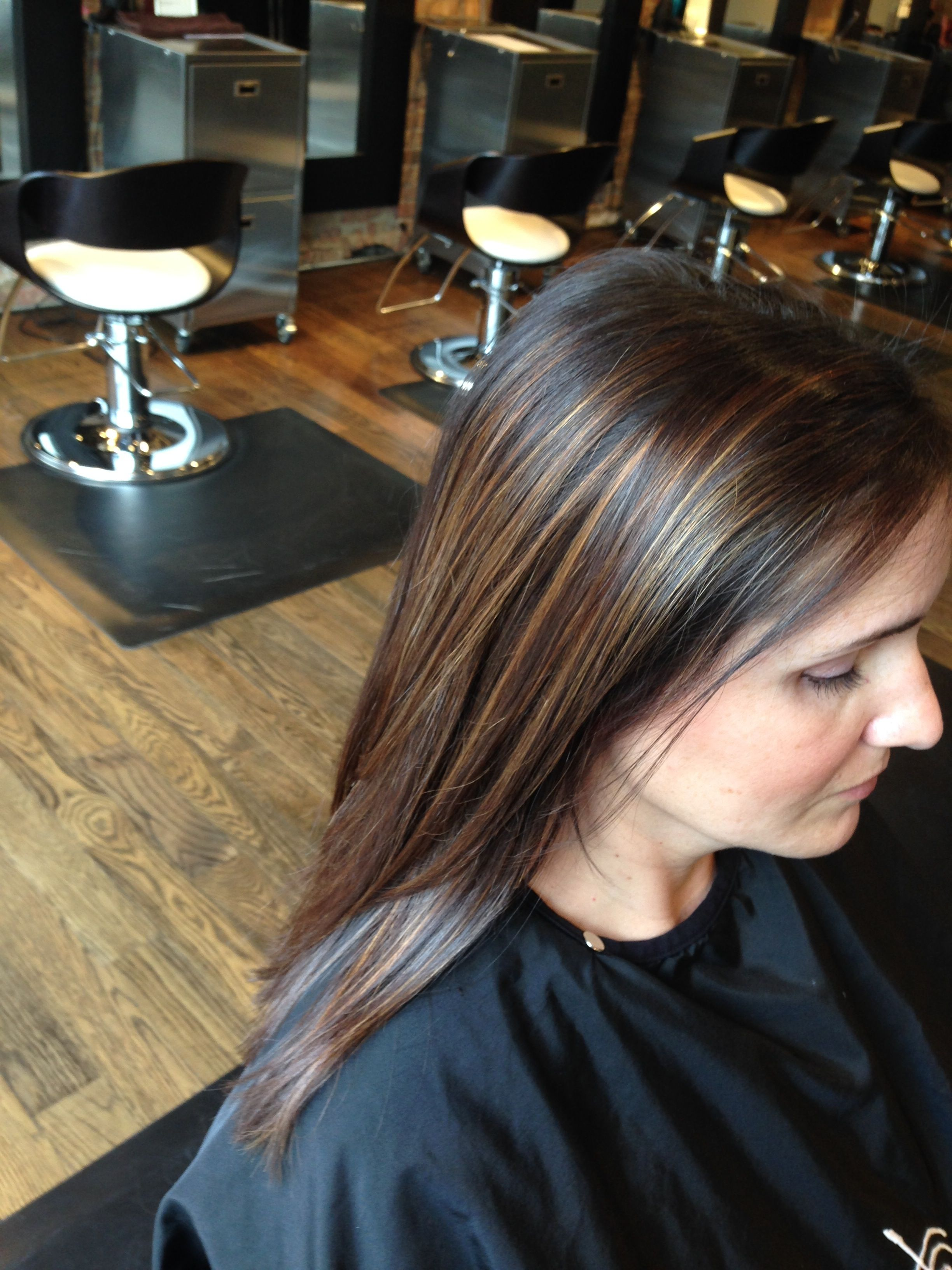 Subtle Caramel Highlights And Haircut By Amy Roman Namaste Salon