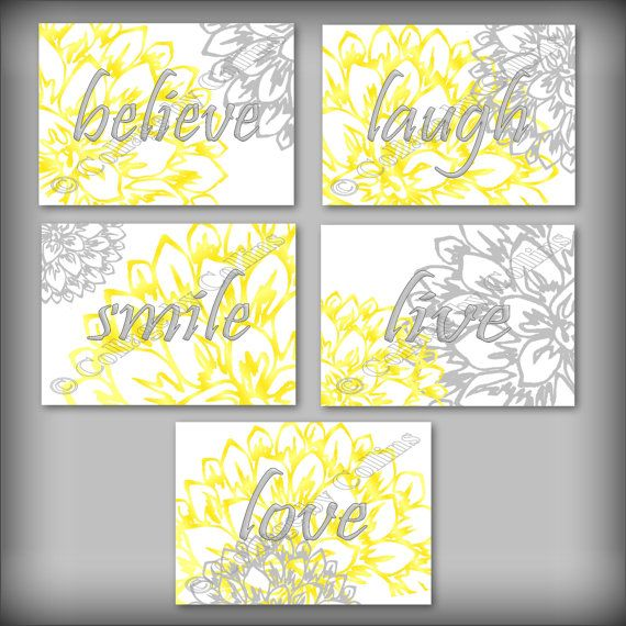 Yellow Gray Floral Flower Wall Art Prints Decor Laugh Love Believe ...