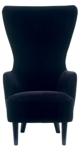 Black Velvet Wingback Chair By Tom Dixon