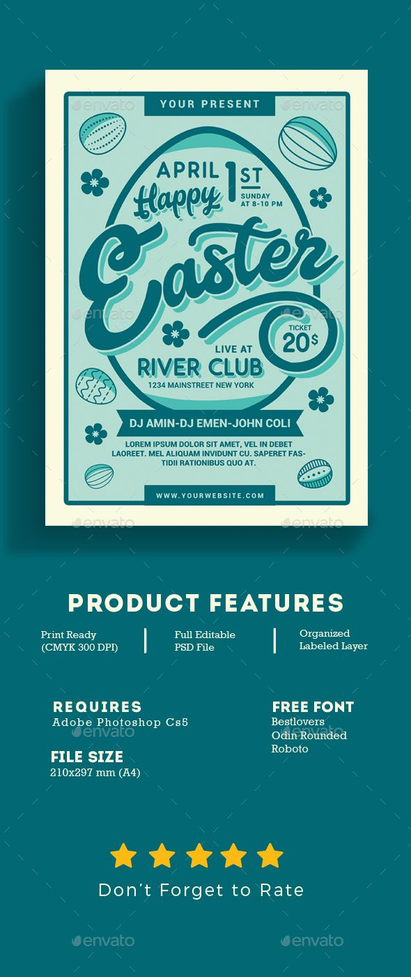 Happy Easter Flyer | Pinterest | Event Flyers, Flyer Template And Font Logo