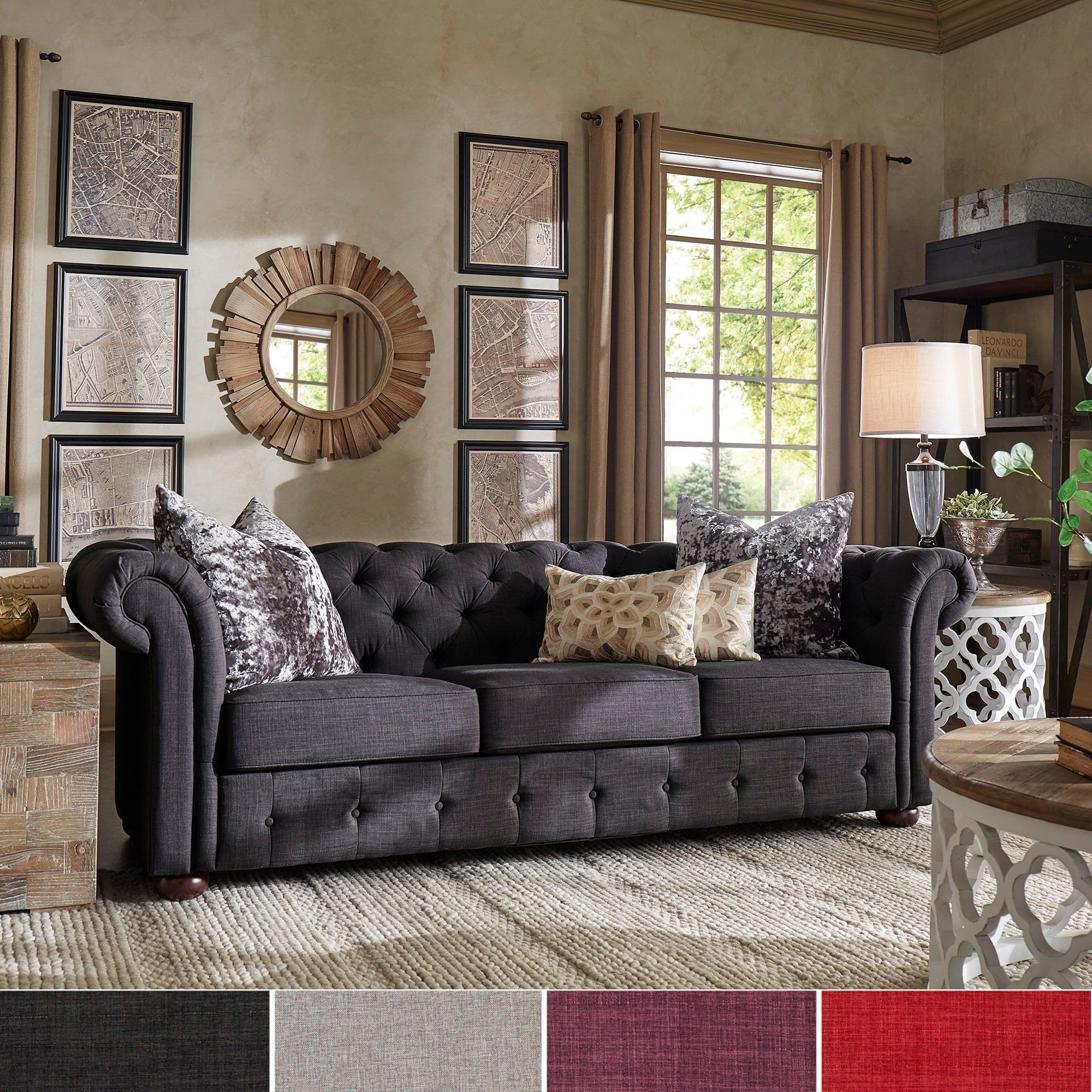 Chesterfield Sofa Living Room Ideas Knightsbridge Tufted Scroll Arm Chesterfield Sofa By