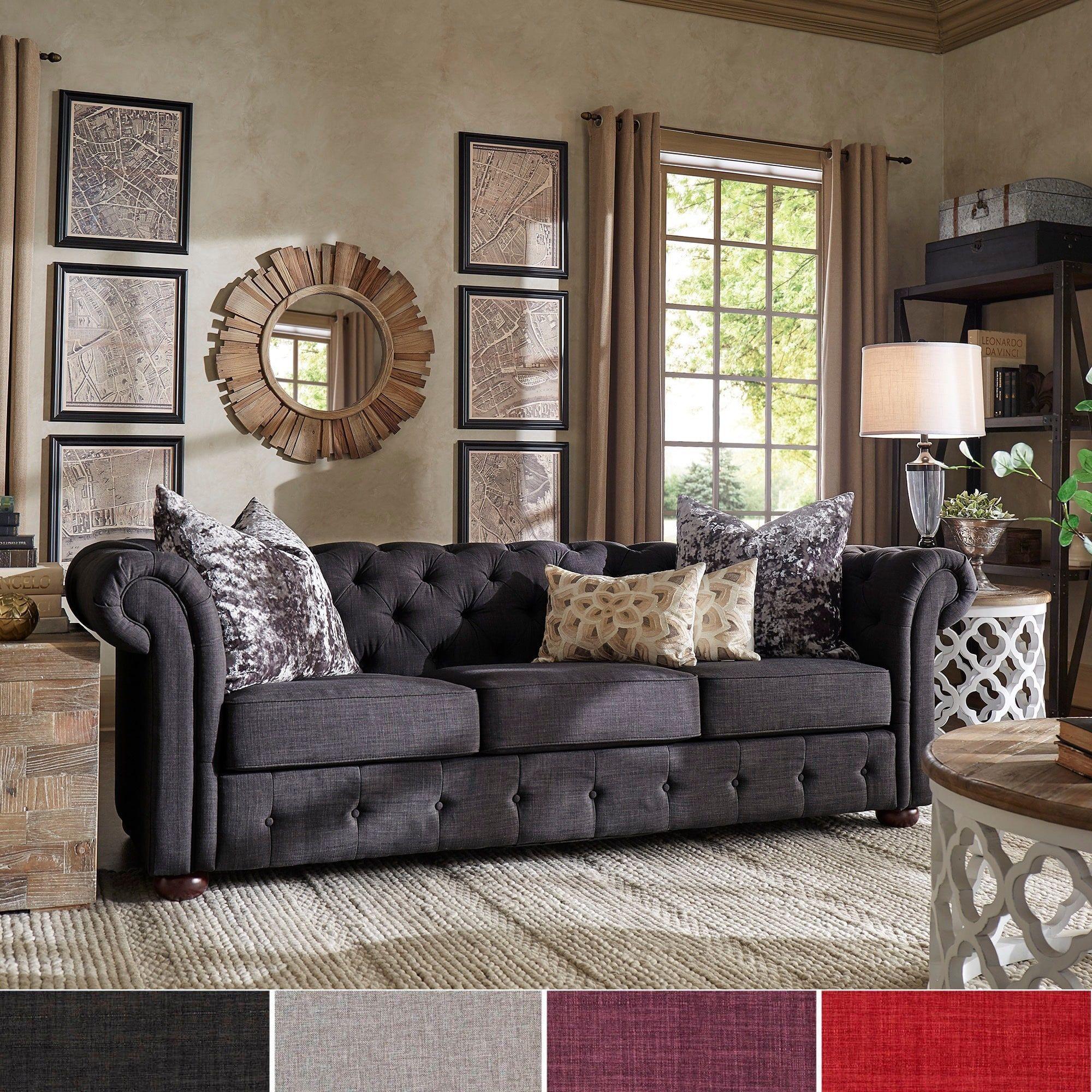 Knightsbridge Tufted Scroll Arm Chesterfield Sofa by iNSPIRE Q Artisan  (Dark Grey Linen Sofa), Black (Fabric)