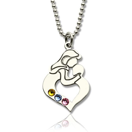 Personalized mother child necklace with birthstone silver aloadofball Images