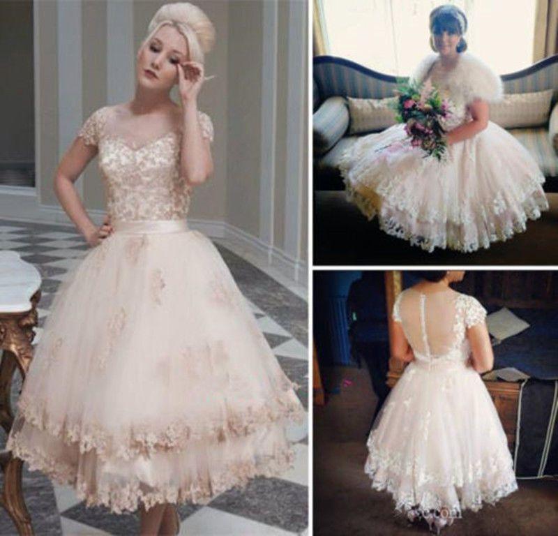Blush Pink Short Wedding Dresses Lace Sheer Back Tea Length Princess Bridal Gown Short Lace Wedding Dress Sheer Wedding Dress Short Wedding Dress Beach