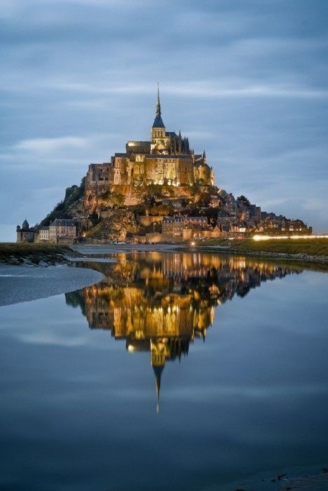 night fall at Mont Saint Michel, France beautiful-places-on-earth