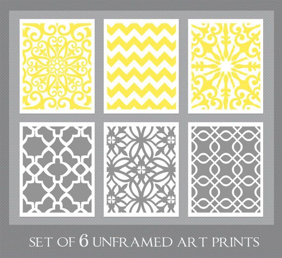 Yellow and Gray Art Yellow Wall Art Dining Room by inkandnectar ...