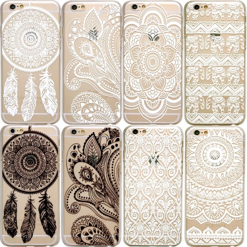 c35dc1a607d HENNA Paisley Mandala Tribal Clear Hard Phone Case iPhone 5 5S 6 6S 7 8 +  Plus