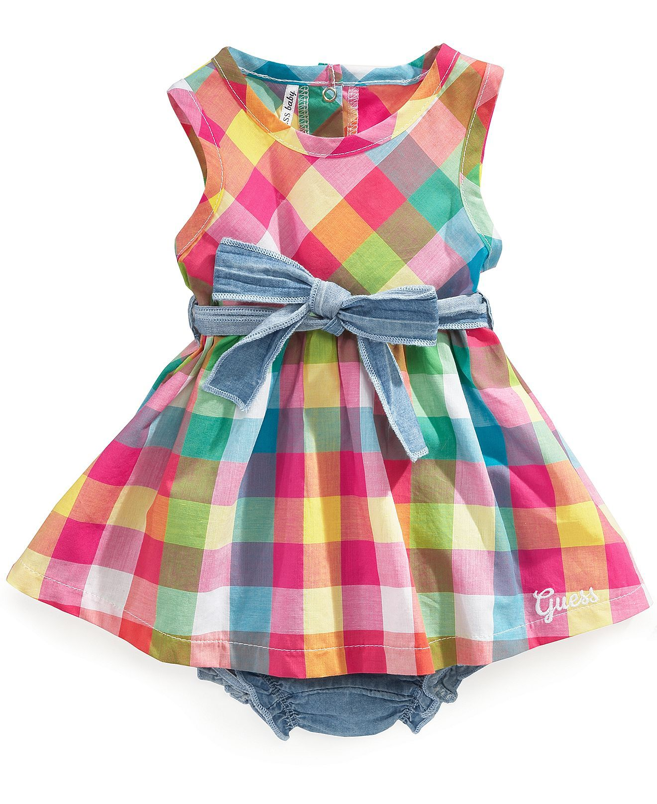 GUESS Baby Dress Baby Girls Newborn Sleeveless Plaid Dress Kids