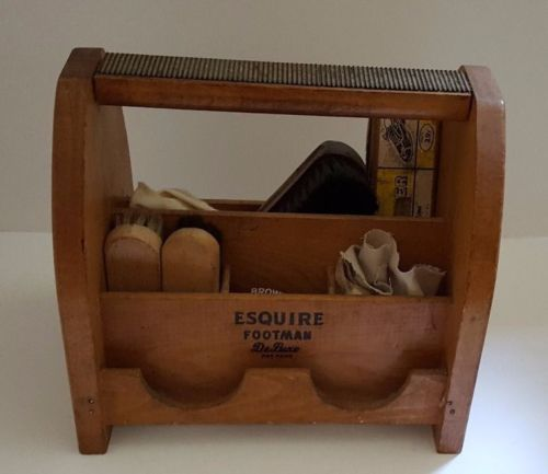 Brush Carrier Vintage Esquire Footman Deluxe Wood Shoe Shine Box Polish