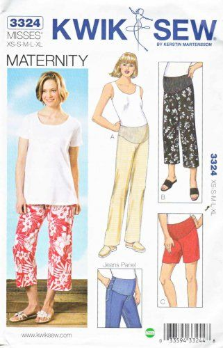 Kwik Sew Sewing Pattern 3324 Maternity Misses Size 6-22 Easy Pants ...