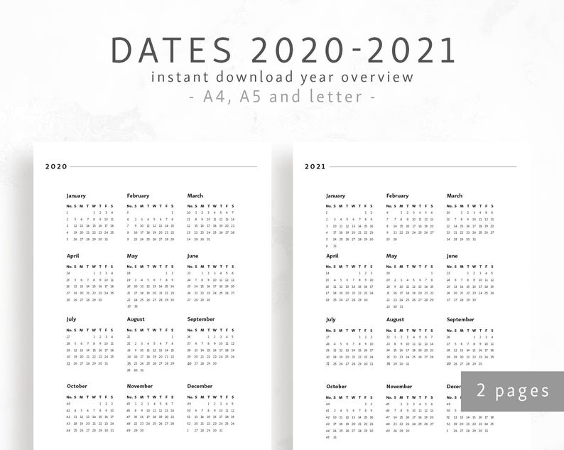 Pictures of 2021 Calendar Overview