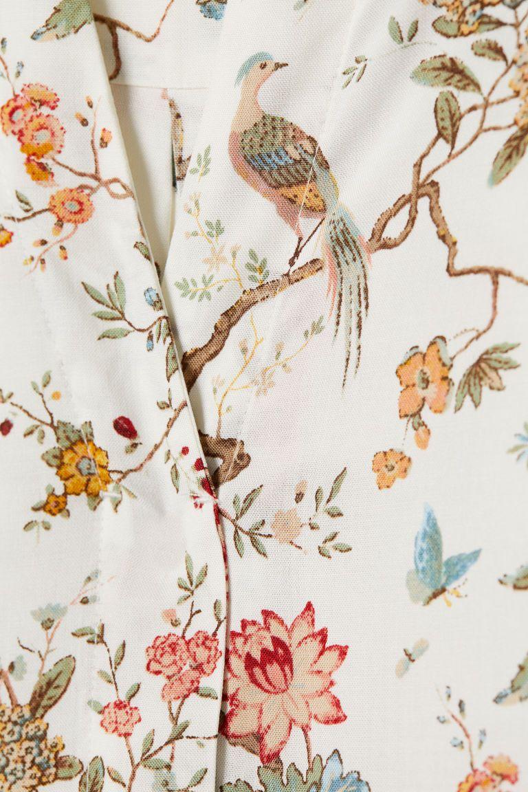 Wzorzysta Sukienka Z Wiskozy Naturalna Biel Kwiaty Ona H M Pl Viscose Dress H M Dresses
