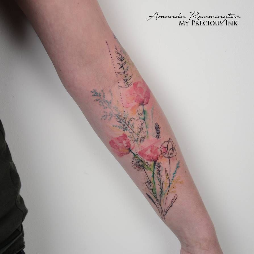 Freehand Field Flower Watercolor Tattoo By Mentjuh On Deviantart