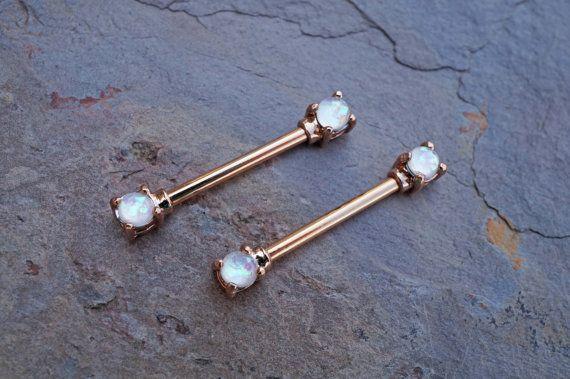 White Opal Rose Gold Nipple Ring Nipple Piercing Nipple Jewelry