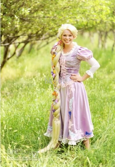 Tangled Rapunzel Mascot Long Princess Dress Party Dresses Halloween Birthday Suit