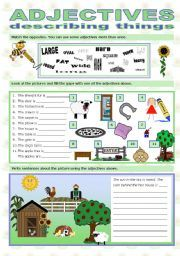 English Worksheets Adjectives Describing Things