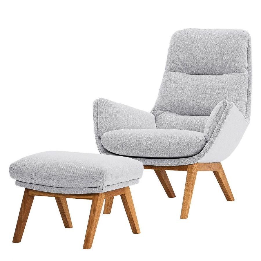 Einzelsessel stoff  Sessel Garbo I - Webstoff - Eiche - Stoff Saia Hellgrau | Living ...