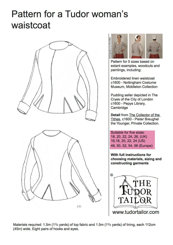Shop | The Tudor Tailor | Pattern for Women\'s Tudor or Elizabethan ...