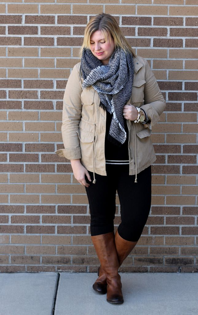 winter layers with a cozy black and white scarf, black sweater ...