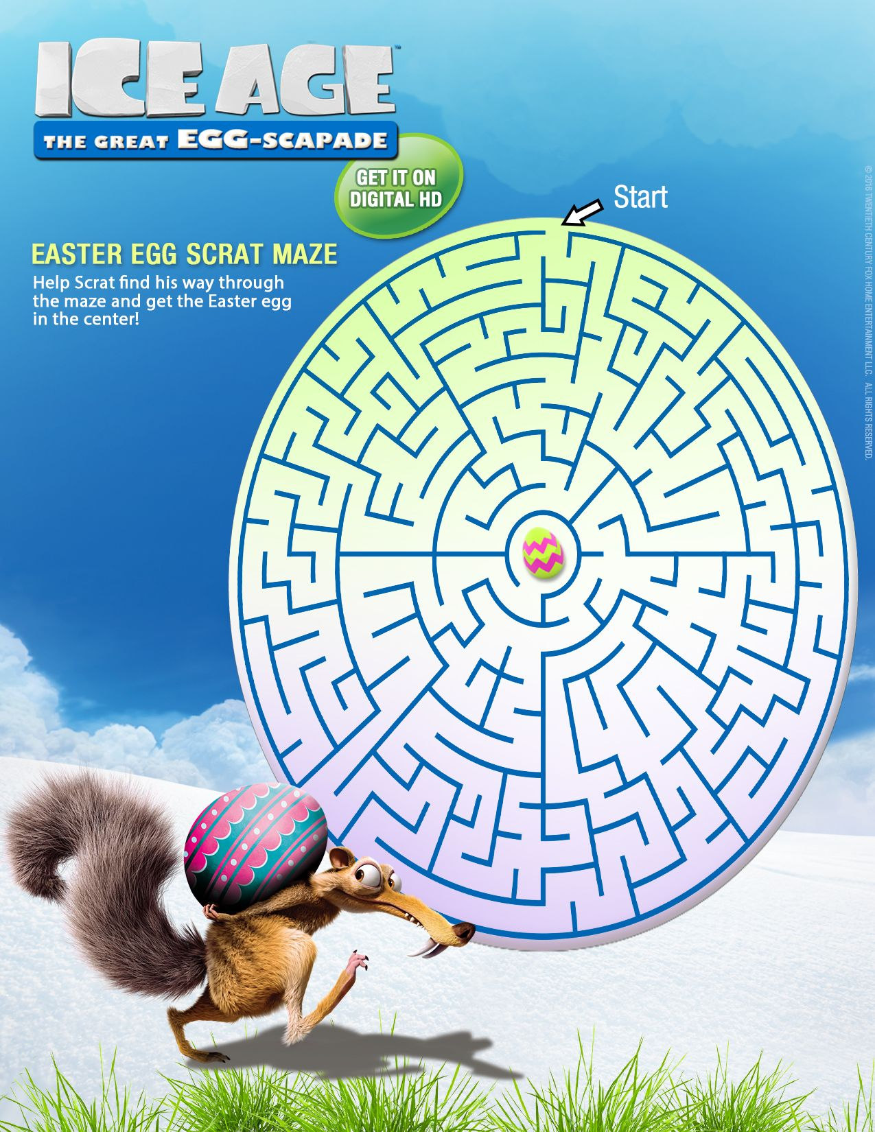Free Ice Age Maze For Easter