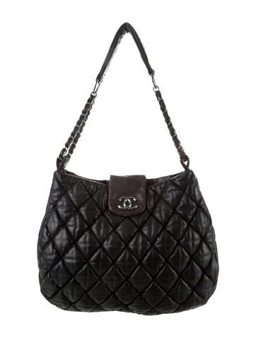 b5c35a474c6d Black quilted leather Chanel Bubble Quilt Large Hobo with silver-tone  hardware, single shoulder